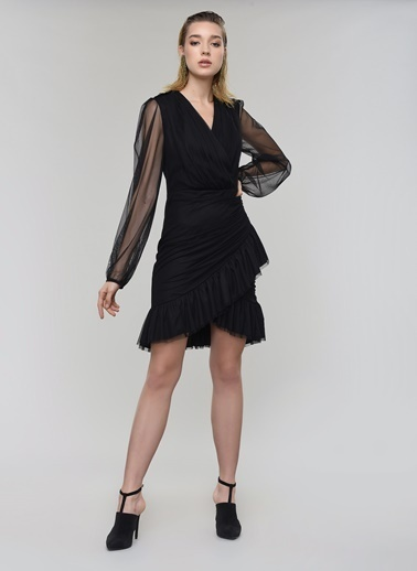 People By Fabrika Tül Mini Elbise Siyah